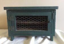 "Green Vintage Box Wood 12"" 8""H 5"" D Door 2 Shelves Rustic Primitive Decore"