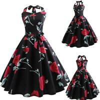 Women Summer Party Sleeveless Dresses vintage Evening floral Retro halter Dress