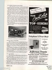1940 PAPER AD Jefferson Travis Marine Radio Telephone Crystal Controlled Phone