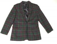 Women's Lands End Size 8 Wool Plaid Tweed Blazer / One Button /Green,  Red, Blue