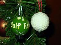 #1 GOLF FAN : Golf Ball Christmas or Car Ornament -Made & Hand-Painted in Russia
