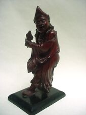 Wonderful  CHINESE carved HARDWOOD FIGURE IMMORTAL  Zhongli Quan 10 5/8""