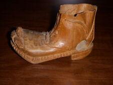 "Antique, Rare Wooden Carved Shoe 4"" Long. Folk Art Intricate Detail"