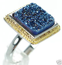 Solid 925 Sterling Silver Two-tone Blue Square Druzy Ring Size 7 '