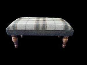Footstool upholstered in a 100% Wool check