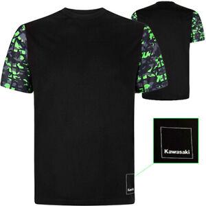 Kawasaki Racing Team T-Shirt CAMO Camouflage Short Sleeve - Shirt Black / Green