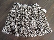 NEW W TAG OBEY PROPAGANDA WOMENS SZ M MEDIUM LEOPARD PRINT PLEATS LINED SKIRT