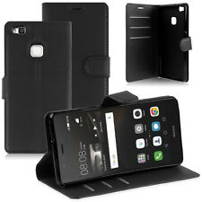 Libro Negro De Cuero PU Billetera Abatible De pie Estuche Cubierta Para Huawei P9 EVA-L09 L19 L29