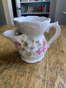 Antique Victorian Porcelain Flower Scuttle Shaving Mug Cup Barber Beautiful