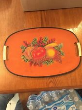 Vintage Oval Serving Tray Decorated With Fruit Made In Japan
