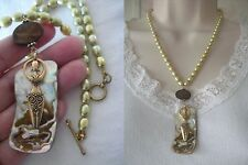 Artisan Green Freshwater Pearls Shell Necklace GODDESS Woman Charm Overlay