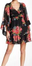 "❤️BETSEY JOHNSON ""Bambi"" FLORAL Pink Red ROSE Ruffles Angel Sleeved DRESS 4 NWT"