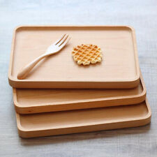 17*25cm Serving Tray Natural Wooden Rectangle Food Fruit Dish Home Snack Plate