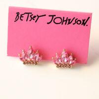 New Betsey Johnson Acrylic Crown Stud Earrings Gift Fashion Women Party Jewelry