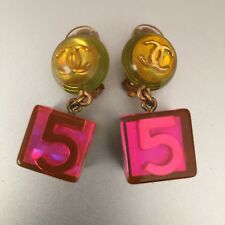 Rare Vintage Rare Chanel Hologram Holographic Clip 5 Logo Cube Earrings 97A