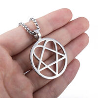 Silver Round Heartagram Star Heart Stainless Steel Pendant Chain Necklace Set