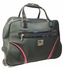DVF Diane Von Furstenberg Studio Black Pink  Rolling Duffel Bag Luggage