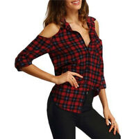 Womens Check Shirt Blouse Ladies Long Sleeve Plaid Tee Tops Casual Cold Shoulder