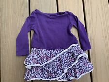 Tea Collection Baby Girl's Purple Tiered Dress Size 3-6 Months Ruffle Bottom