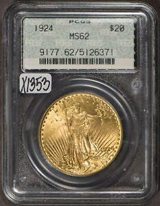 1924 G$20 Saint-Gaudens Gold Double Eagle - OGH Doily Label - PCGS MS 62 - X1353