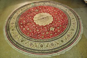 Silk Red High Demand Hand-Knotted Area Rug 12 x 12 Large Round Silk Rug