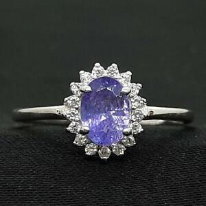 World Class 1.00ct Tanzanite & Diamond Cut White Sapphire 925 Silver Ring Size 7