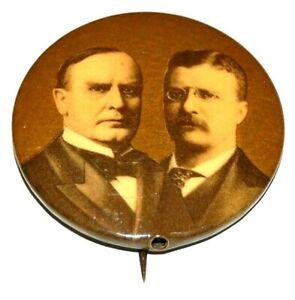 1900 1.75 WILLIAM MCKINLEY TEDDY THEODORE ROOSEVELT pin pinback button political