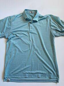 Peter Millar Polo Shirt Men's Extra Large Green Blue Stripe