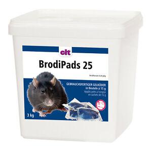 3kg Rattengift Mäusegift Schädlingsbekämpfung portioniert BrodiPads25 #008.050