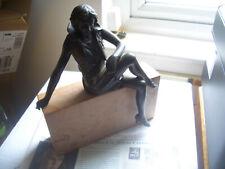 ORIGINAL ART DECO BRONZE SEATED LADY ON MARBLE BLOCK STUNNING WORKMANSHIP