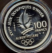 """FRANCE SILVER COIN,100 Fr.""""OLYMPIADE"""",1991,PROOF,22 Gm"""