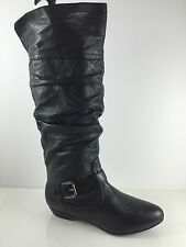 Steve Madden Womens Black Leather Knee Boots 6 M