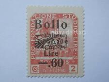 VECCHIA MARCA DA BOLLO posta Fiume 1918 SOVRASTAMPA lire 5  60