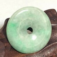 """Natural A Jadeite Jade Icy Green 1"""" Feng Shui Lucky Donuts Pendant String 201001"""