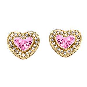 Heart & Round October Tourmaline 14K Yellow Gold Finish Heart Studs Earrings