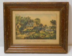 Vintage Currier & Ives Lithograph, AMERICAN HOMESTEAD SUMMER, Original Frame