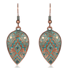 Bohemian Ethnic Charm Women Bronze Carved Water Drops Ear Hook Earrings Jewelry