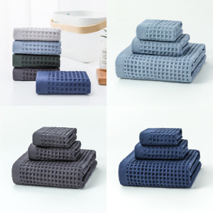 3-Piece Waffle Pattern Towels Set Square Towel & Towel & Bath Towel for Bathroom