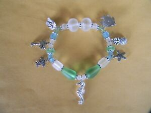 STRETCH BRACELET - GREEN, BLUE & FROST SEA GLASS BEADS - FISH, SEAHORSE & TURTLE