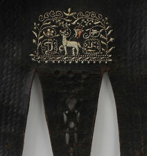 original Federkiel Lederhosen Träger / Hosenträger Leder mit Stickerei  19. Jh