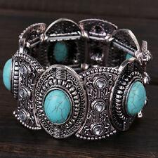 Damen Retro Natural Türkis Armband Tibet Silber breit Armreif Schmuck Mode