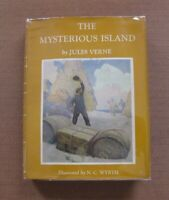 THE MYSTERIOUS ISLAND by Jules Verne - 1st HCDJ 1959 - N.C. Wyeth - $3.95
