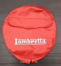 """Spare wheel cover 10"""" with Lambretta logo oxblood/white for Lambretta"""