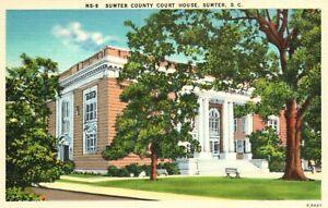 Vintage Postcard  1930's Sumter County Court House South Carolina SC Asheville