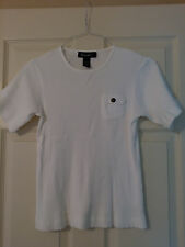 Denim  & Co. Womens White Cotton/ Spandex Short Sleeve Top Sz. M
