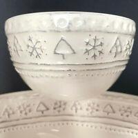 Hallmark Embossed Trees Stars Christmas Platter And Bowl Ceramic
