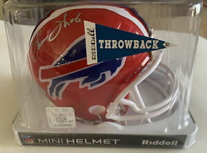 HOF RB Thurman Thomas Autographed Buffalo Bills Mini Helmet - Tristar Hologram