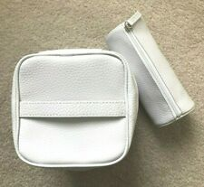 2 CLINIQUE MAKEUP BAGS COSMETIC WHITE SNAKESKIN LOOK