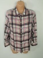 WOMENS JACK WILLS PINK WHITE CHECKED BUTTON UP SHIRT BLOUSE CASUAL TOP UK 12