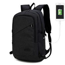 Unisex Backpack Laptop USB Port Charger Rucksack School Travel Bag Lightweight Black